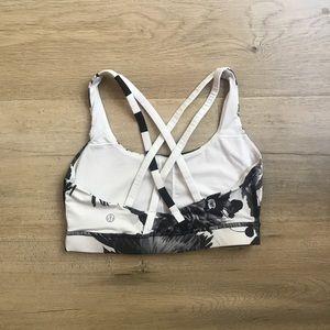 Lululemon black and white floral sports bra